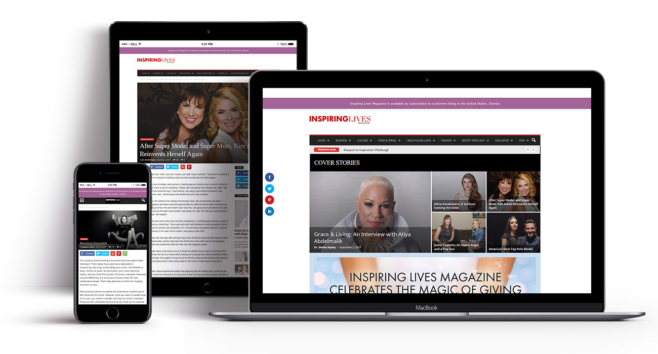 Inspiring Lives Magazine website by Radcliffe & Co.